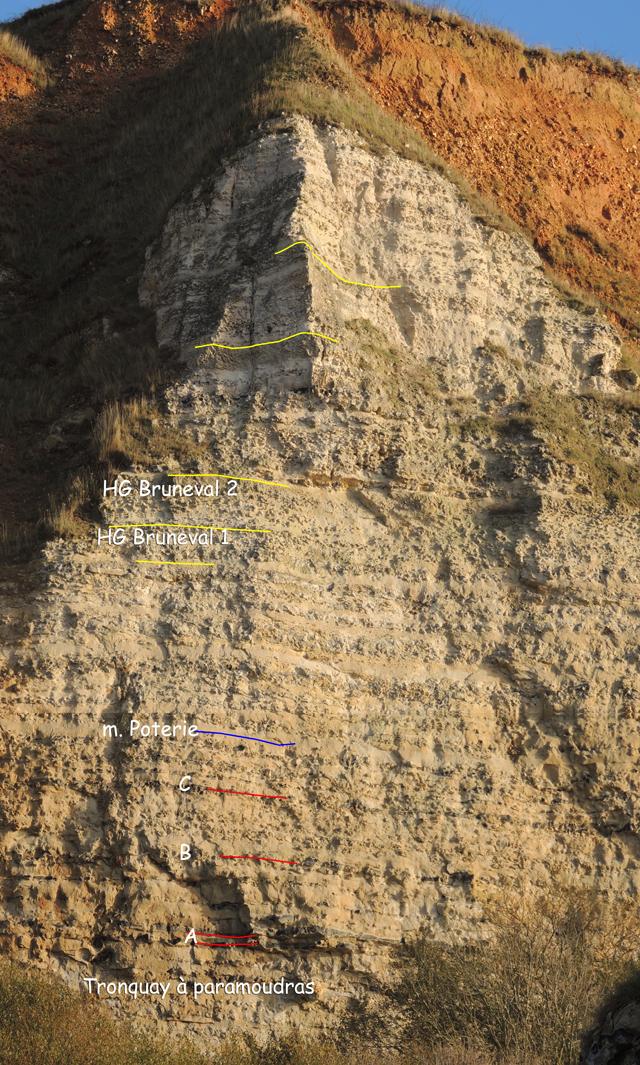 Haute falaise au-dessus du bloc AS32.00'N Les hardgrounds supérieurs aux HG Bruneval ne sont pas clairement identifiables