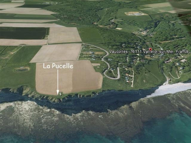Vue oblique (extrait Google Earth) entre La Pucelle et la valleuse de Vaucottes
