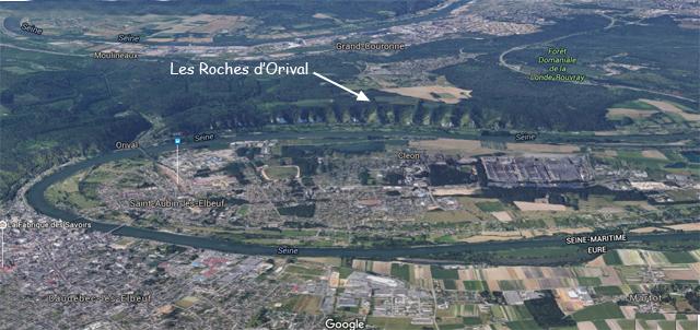 Les Roches d'Orival sur un extrait de Google Maps