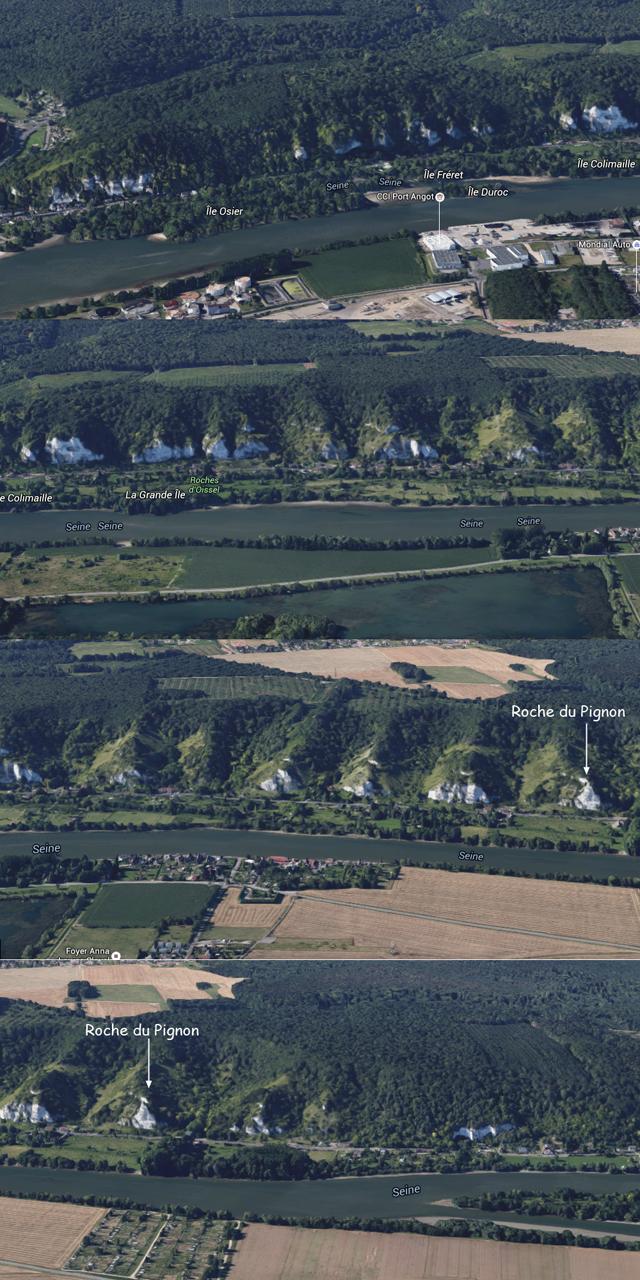 Zoom sur les Roches d'Orival (4 parties) extrait de Google Maps