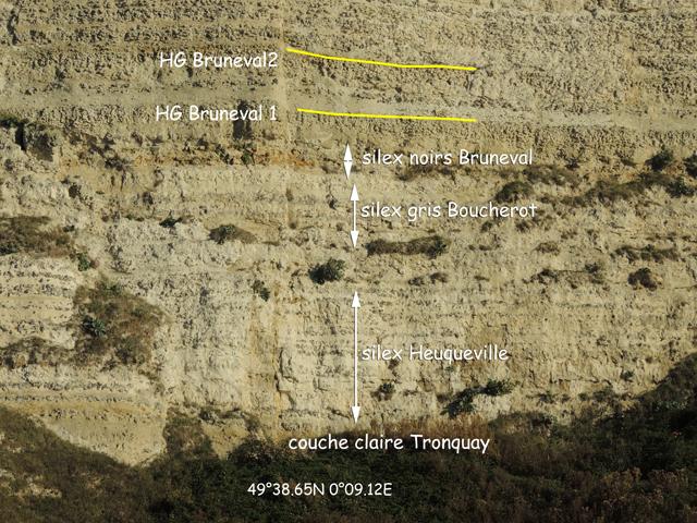 Partie basse de la falaise de craie sous les HG Bruneval 1 et 2