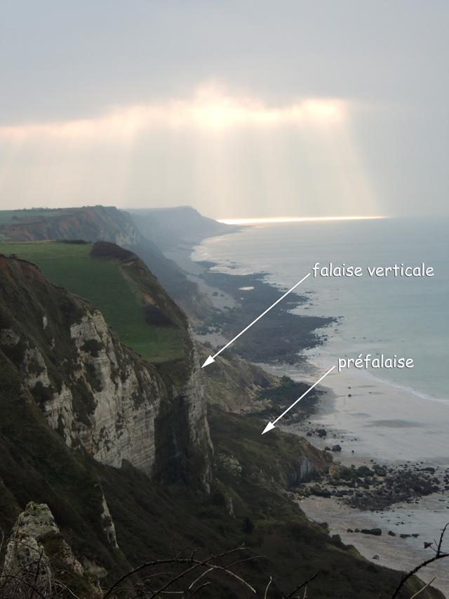 Vue de la falaise vers le SW depuis le belvédère