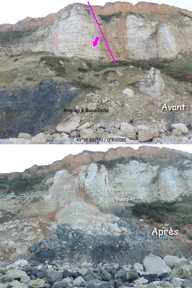 Eboulement de Cauville, avant et après