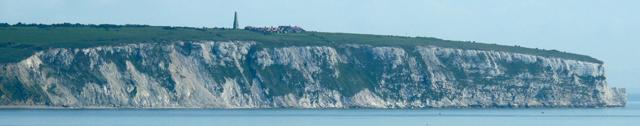 La falaise de craie de Culver Down, vue depuis le village de Shanklin
