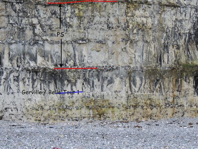 Les niveaux de base de la falaise - coupe 49°44.4862N 0°18.8915E