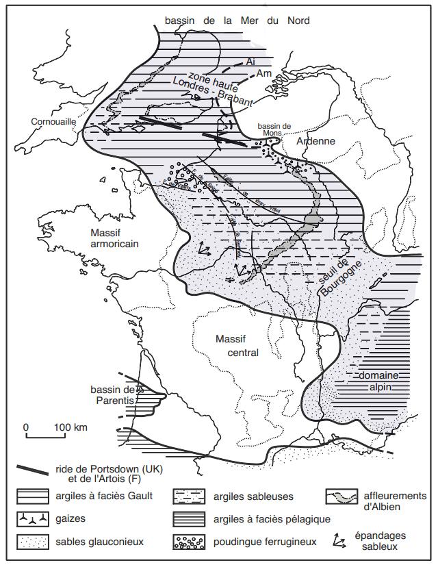 Carte (colorisée) du Bassin Parisien à l'Albien moyen, selon Amédro et al., 2014