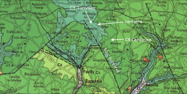 Carte géologique autour de la carrière