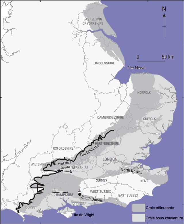Carte du Groupe Craie d'Angleterre, d'après D.T. Aldiss et al, 2012 - Le trait noir épais indique l'affleurement du Chalk Rock d'après Bromley& Gale, 1982