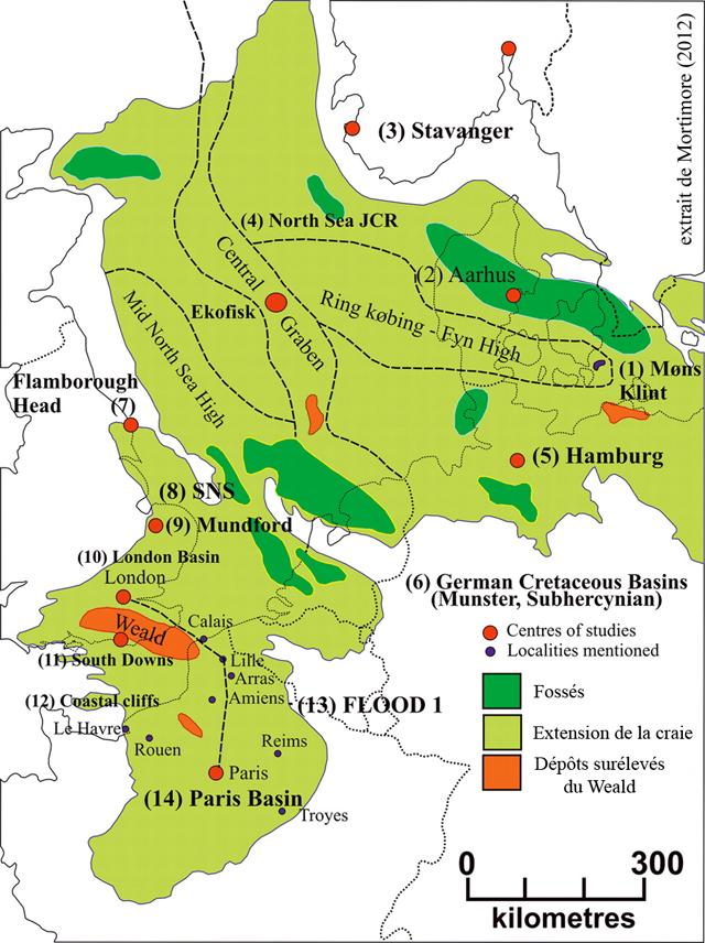 La craie en Europe occidentale, figure extraite de Mortimore (2012)