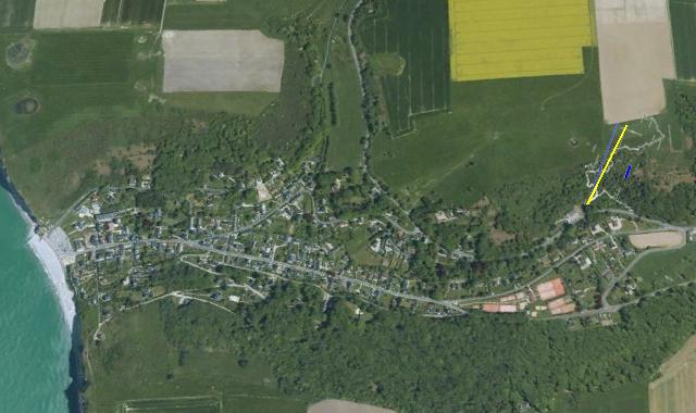 Essai de placage des galeries sur une vue Google Maps (orientation droite-droite selon l'axe de la valleuse)