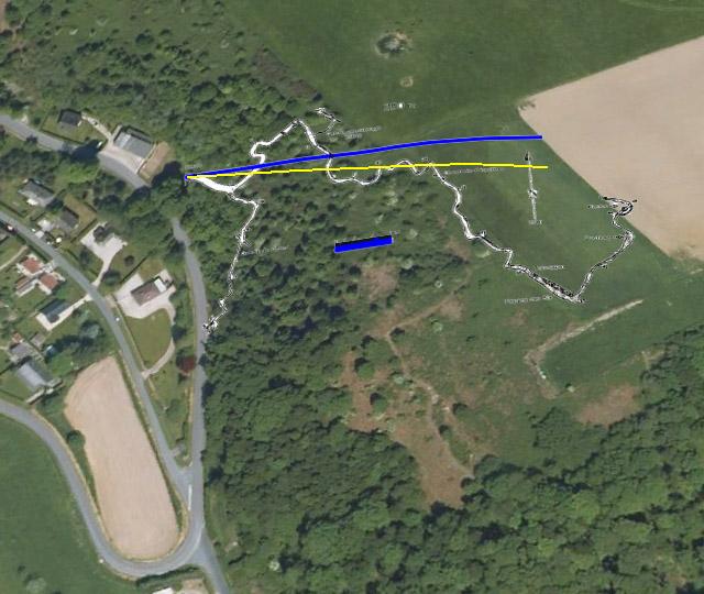 Placage des galerie sur une vue Google Earth (Nord en haut, trait bleu épais = 30 m)