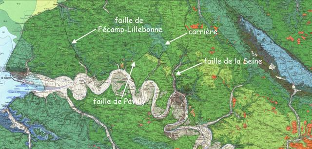 La carrière d'Hugleville reportée dans le contexte de la carte géologique au 1:250 000