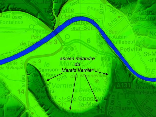 Carte de relief en ombrage montrant le méandre fossile du Marais Vernier (Source Géoportail)