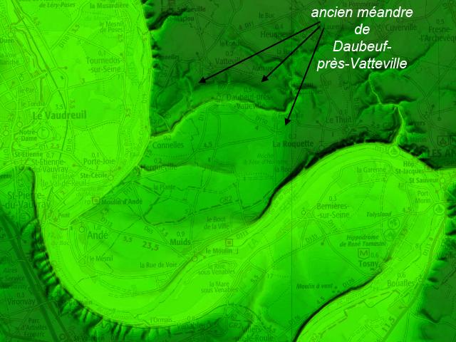 Carte de relief en ombrage montrant l'ancien méandre de Daubeuf-près-Vatteville (Source Géoportail)