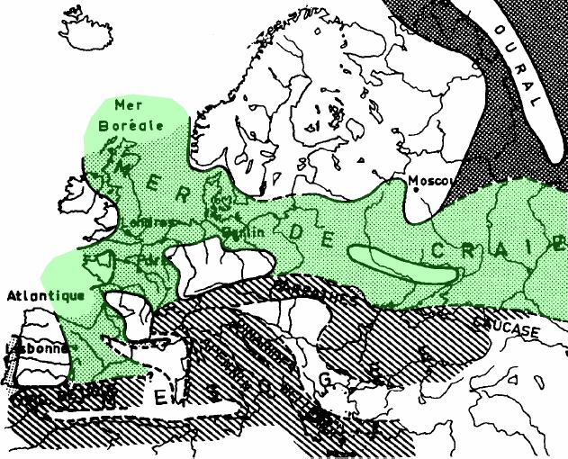 La mer de la craie européenne, extrait de Tallon (1976), d'après Aubouin (1968)