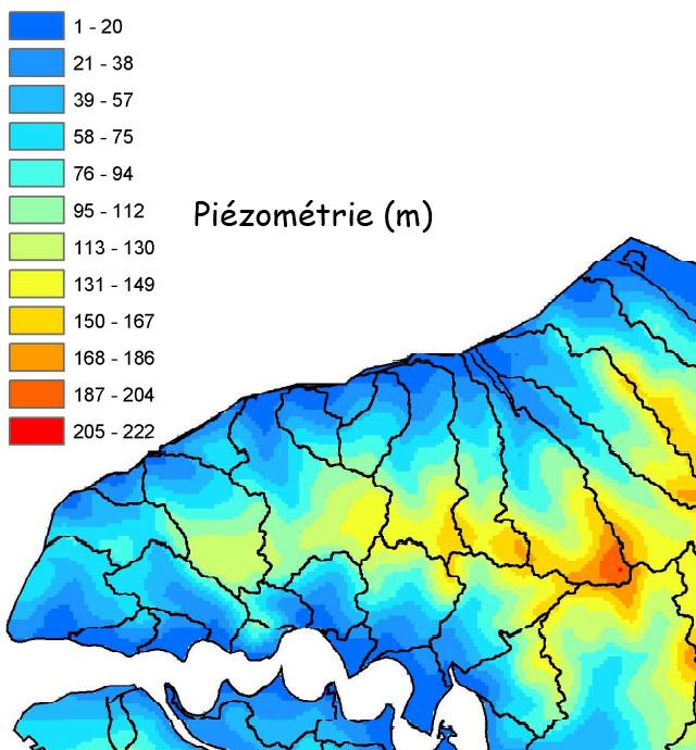 Carte piézométrique obtenue à partir des données du B.R.G.M., extrait de la thèse d'A. Lequien, 2006