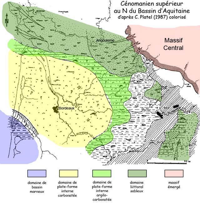 Sédimentation au N du Bassin d'Aquitaine au Cénomanien supérieur, d'après C. Platel (1987), figure colorisée et légèrement modifiée