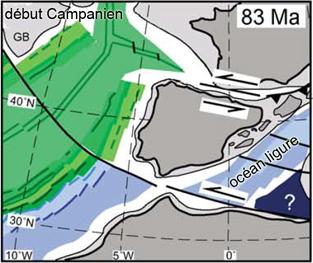 Type de mouvement entre l'Ibérie et l'Europe, modifié d'après Rosenbaum et al., 2002