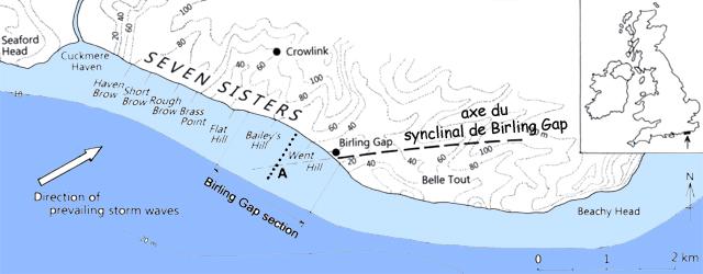 Carte des Seven Sisters et l'axe du synclinal de Birling Gap
