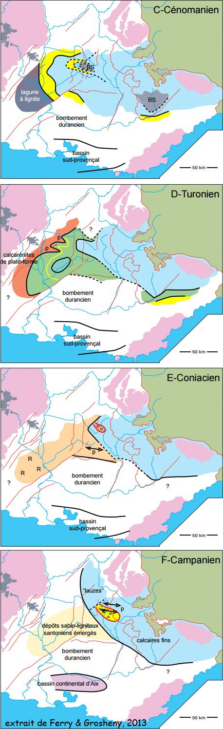 Crétacé supérieur subalpin (figure extraite du livret guide d'excursion de Ferry et Groheny, 2013