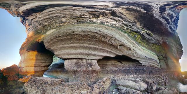 Les deux arches du Trou au Chien, vues de face et au grand angle