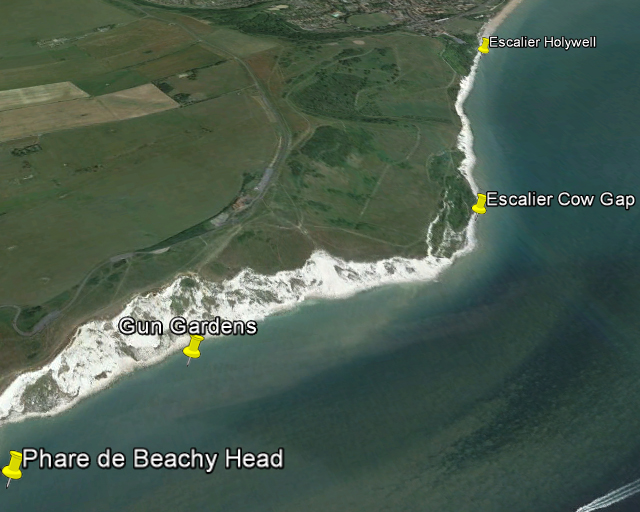 Vue oblique (Google Earth) de la coupe d'Eastbourne à Beachy Head